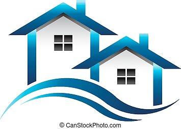 כחול, בתים, מקרקעין, לוגו