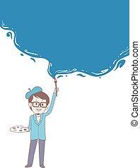 כחול, דפוסית, קיר, רקע, לצבוע, צייר