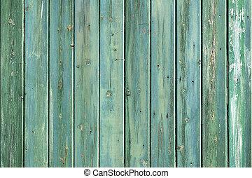 כחול, הזל, קיר מעץ, consisiting, ירוק, קרשים