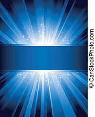 כחול, זקוף, התפוצץ, אור, כוכבים, copy-space