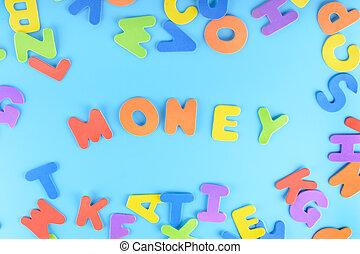 כחול, חריתה, עשה, מילה, כסף, ססגוני, רקע., מואר, letters.