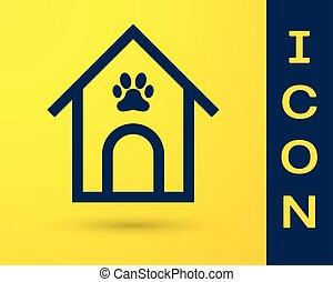 כחול, טלף, חיה בית, דיר, הדפס, כלב, צהוב, הפרד, רקע., וקטור, דוגמה, kennel., איקון