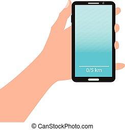 כחול, טלפן, העבר, רקע., להחזיק, חכם