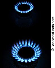 כחול, להבות, גז