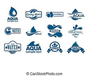 כחול, לוגוים, מינרל, איקונים, collection., set., א.ק.ה., כנה, water.