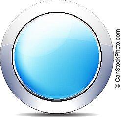 כחול, מבריק, כפתר, וקטור, עצב, איקון, לבנבן