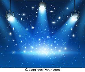 כחול, מבריק, מנורות ממוקדת, רקע