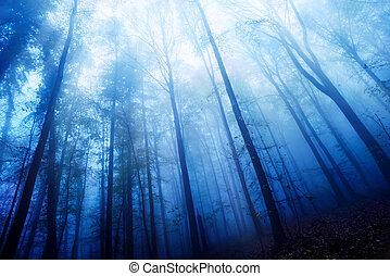 כחול, מעורפל, עץ, דימדומים, מצב רוח