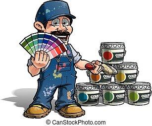 כחול, מתקן כל דבר, צבע, -, מדים, לבחור, צייר