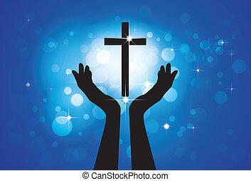כחול, עיגולים, מושג, נוצרי, נאמן, קדוש, ישו, -, עובר, רקע, ילד, בן אדם, גרפי, וקטור, אדוק, כוכבים, להתפלל, לסגוד, או, lord(christ)