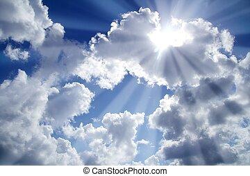 כחול, עננים, קורות, שמיים קלים, לבן