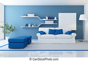 כחול, פנים, מודרני