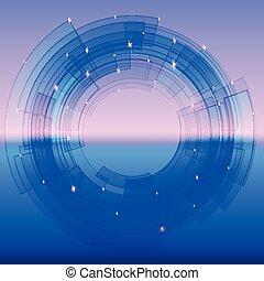 כחול, קטע, הסתובב, retro-futuristic, רקע
