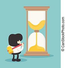 כחול, שובר, כסף., דוגמה, וקטור, רקע, זמן, איש, שעון חול