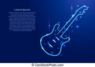 כחול, תאר, קוסמי, גיטרה, stars., זוהר