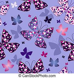 כחול, תבנית, פרפרים, seamless