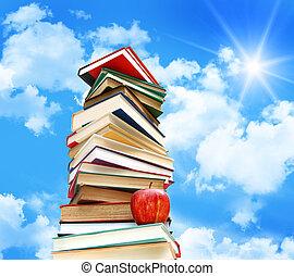 כחול, תפוח עץ, שמיים, נגד, ספרים, לגוז