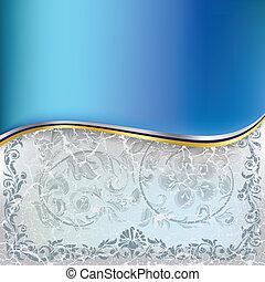 כחול, תקציר, קישוט, רקע, פרחוני, פצח, לבן