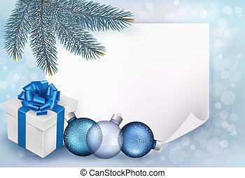 כחול, box., דף, מתנה, דוגמה, נייר, וקטור, רקע, חופשה, חג המולד