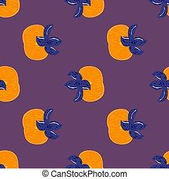 כחול, persimmons., סגול, צבע, תפוז, seamless, תבנית, אוכל, טבעי, צי, רקע.