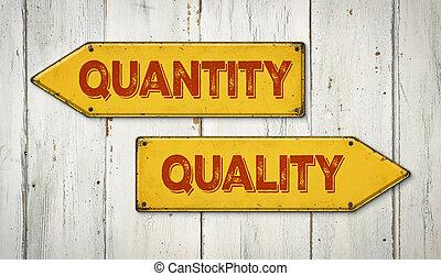 כיוונים, תמרור, איכות, או, כמות. תמרור, מתכת, כיוונים, איכות, או, כמות.    CanStock
