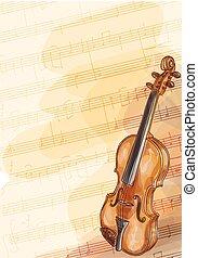 כינור, של עבודת-יד, רקע, רואה., מוסיקה