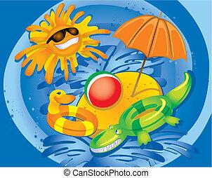 כיף, קיץ, (vector)