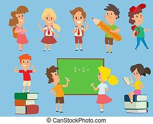 כיתה, ילדים של בית הספר, ראשי, illustration., סצ'ולקידס, למד, אופי, צעיר, השקע, וקטור, חינוך, ילדות, לפני בהס, שמח