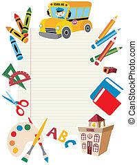 כלים, בית ספר, supplies., השקע