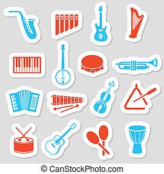 כלים, מדבקות, מוסיקה