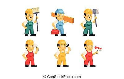 כלים, עובדים, אותיות, קבלן, דוגמה, מדים, האנדימאן, וקטור, שונה, רקע, בניה, לבן, ציור היתולי