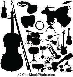 כלי, צלליות, וקטור, מוסיקה