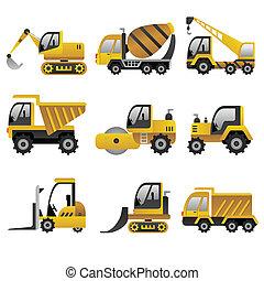 כלי רכב, גדול, בניה, איקונים