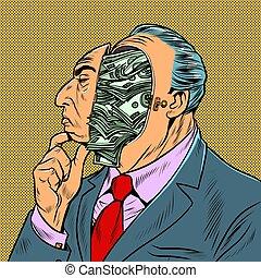 כלכלות, כסף, על, מחשבות, התמלא, איש עסקים