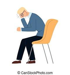 כסא, וקטור, איש עסקים, עצב, ציור היתולי, כאב ראש