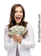 כסף, אישה מחזיקה, שמח