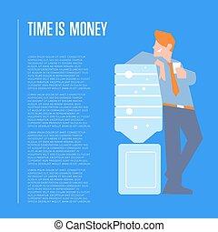 כסף, איש עסקים, דגל, זמן