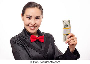 כסף, אסייתי, צעיר, אישת עסקים