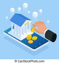 כסף, הלוה, signing., הלוה, איזומטרי, אונליין, תעד, הסכם, loans., מושג, בנקאות, כתוב