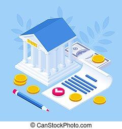 כסף, הלוה, signing., הלוה, איזומטרי, תעד, הסכם, loans., מושג, בנקאות, כתוב