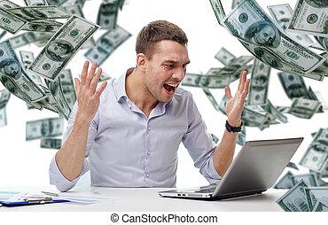 כסף, כועס, מחשב נייד, לפול, איש עסקים