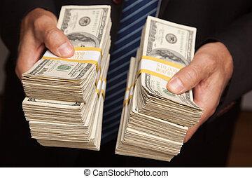 כסף, להעביר, ערימות, מעל, איש עסקים