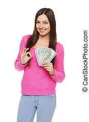 כסף, להראות, אישה, דולר, אותנו