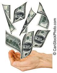 כסף, נפול, ידיים