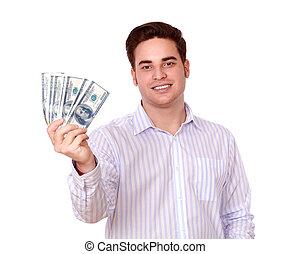 כסף, פדה, להחזיק, לחייך, זכר, יפה