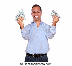 כסף, פדה, מבוגר, להחזיק, רגש, איש