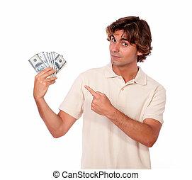 כסף, פדה, צעיר, להחזיק, יפה, איש
