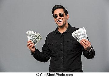 כסף., צעיר, להחזיק, איש, רגש, יפה