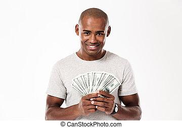 כסף, צעיר, שמח, להחזיק, איש אפריקני