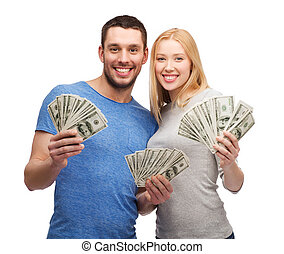 כסף, קשר, דולר, פדה, להחזיק, לחייך